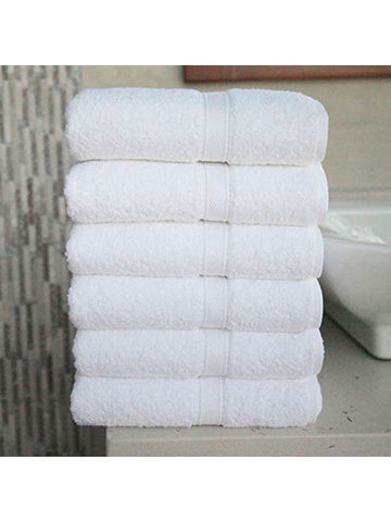 Solid White with Border Pattern Cotton Bath Towels (Pack of Four)