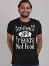 Animals Are Friends Not Food Printed Navy Blue T-shirt