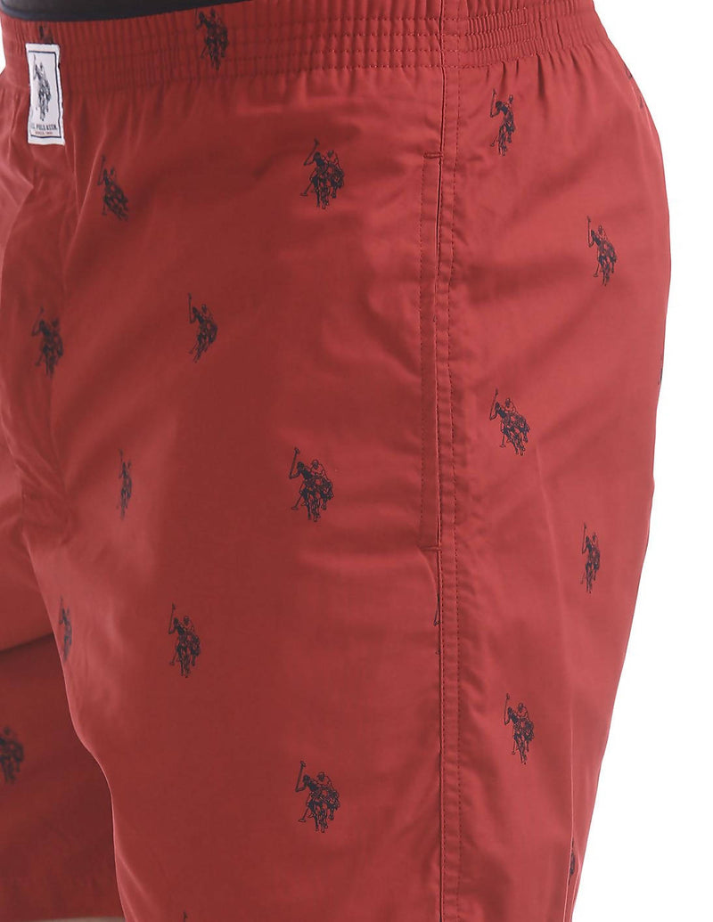 US Polo Association Men's Cotton Printed Red Boxer Shorts