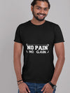 No Pain No Gain Print Men Navy Blue T-shirt
