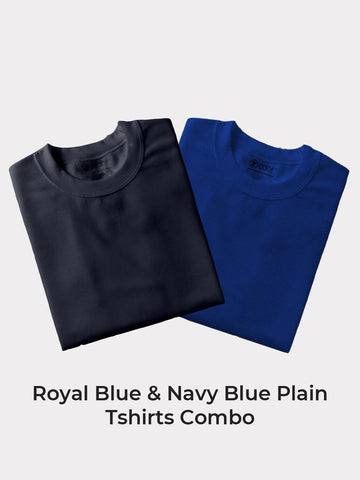 Z-Code Men's Grey Milange, Navy Blue & Royal Blue Plain Tshirt Combo (Pack of 3)