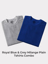 Z-Code Men's Grey Milange & Royal Blue Plain Tshirt Combo (Pack of 2)