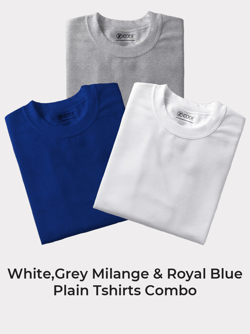 Z-Code Men's White, Grey Milange & Royal Blue Plain Tshirt Combo (Pack of 3)
