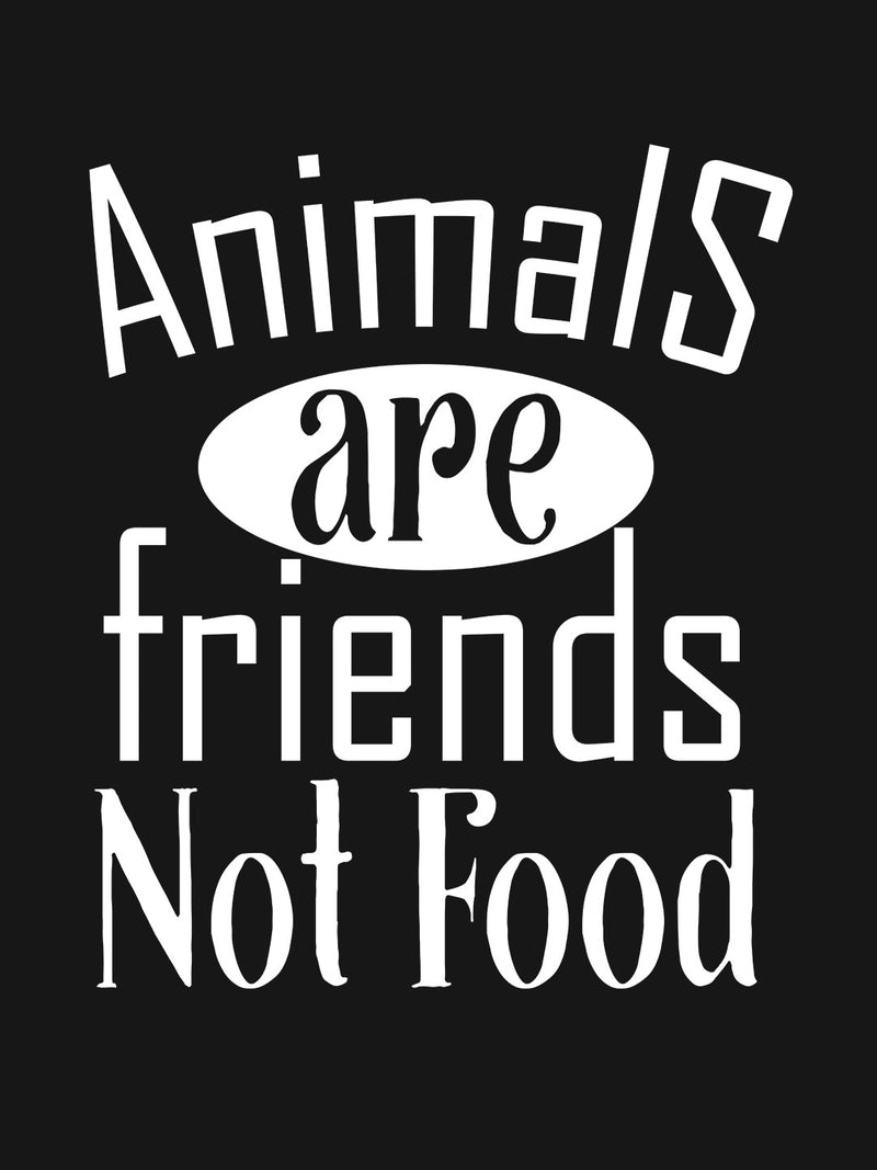 Animals Are Friends Not Food Printed Black T-shirt
