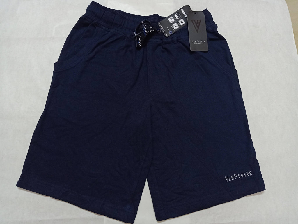 Van Heusen Solid Navy Blue Mens Shorts