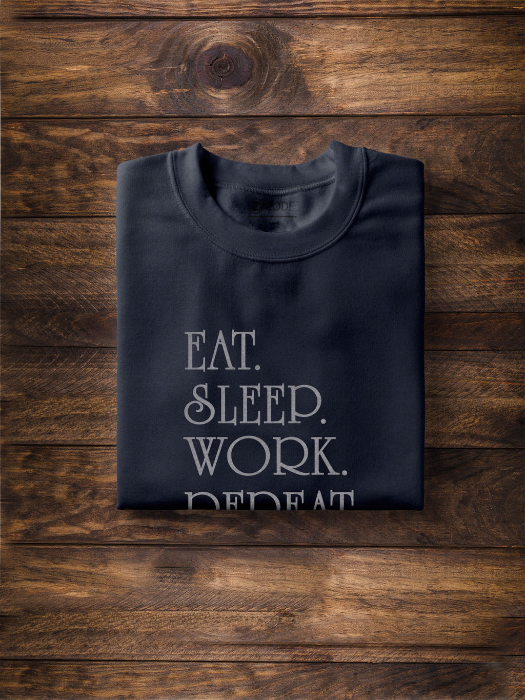 Eat, Sleep, Work, Repeat Print Men Navy Blue T-shirt