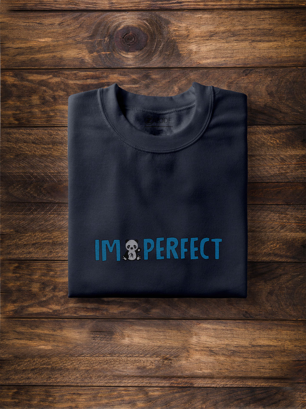 I Am Perfect Print Men Navy Blue T-shirt