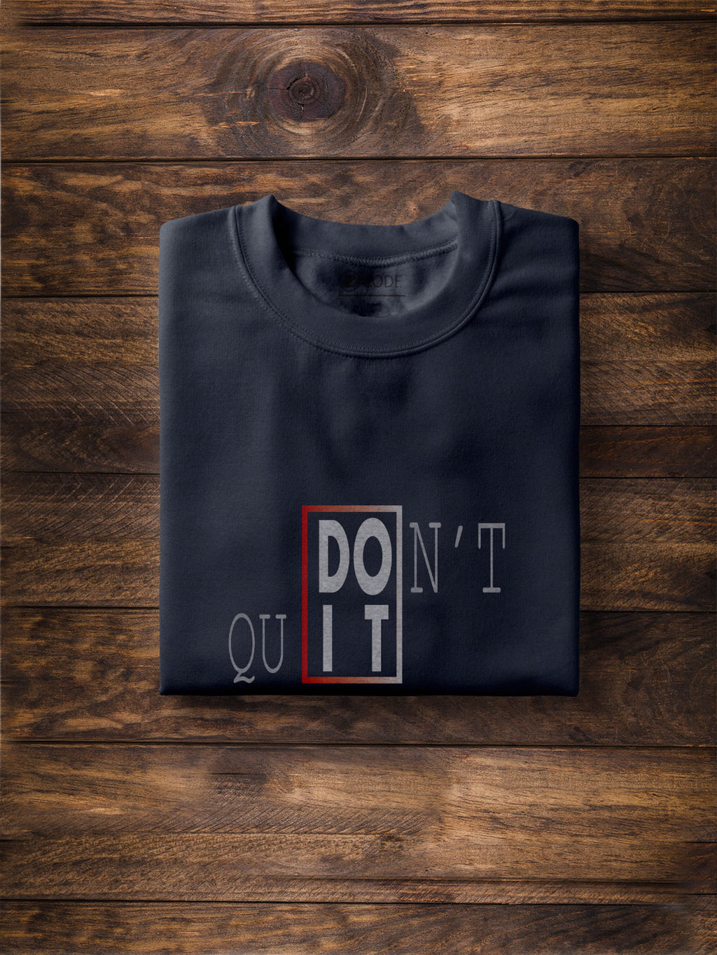 Don't Quit Printed Navy Blue T-shirt