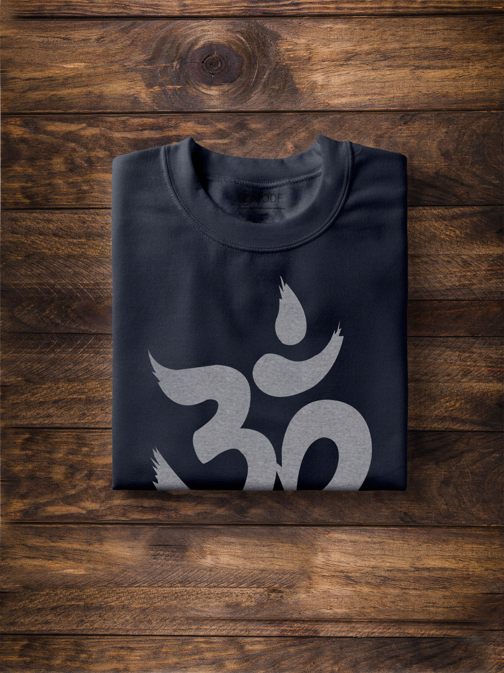 Men Om Print Navy Blue T-shirt