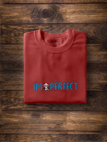 I Am Perfect Print Men Black T-shirt