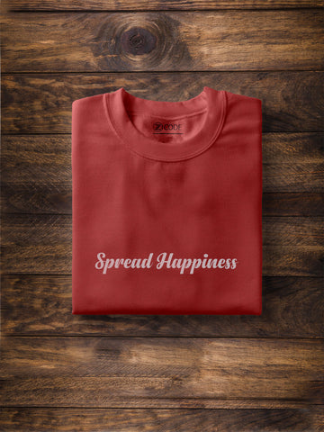 Spread Happiness Print Men Navy Blue T-shirt