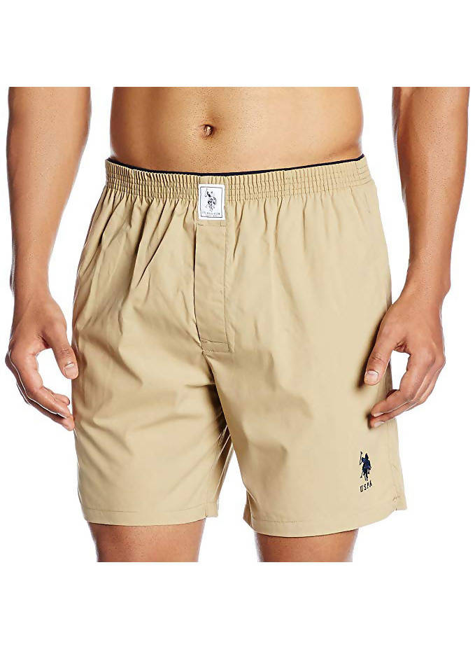 US Polo Association Men's Cotton Solid Khaki Boxer Shorts