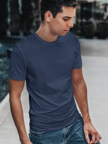 Men Solid Ash Color T-shirt