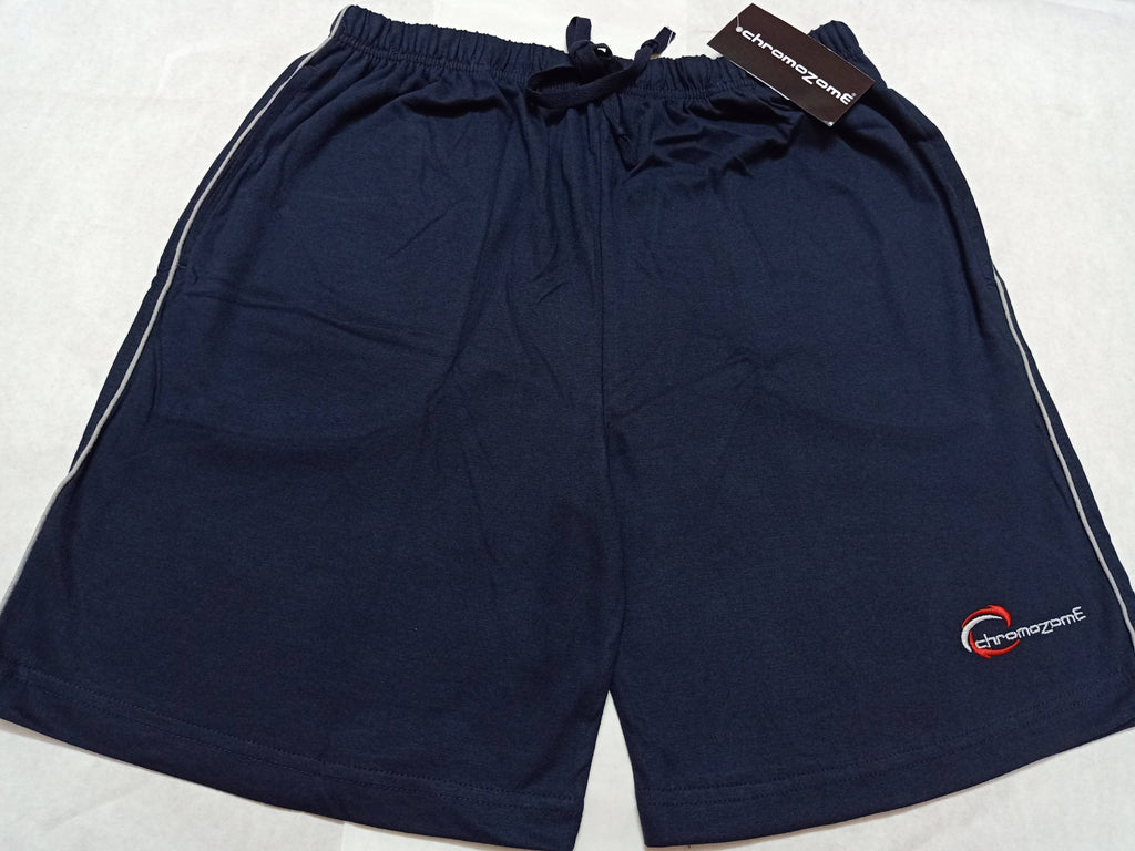 Chromozome Mens Solid UV Navy Cotton Shorts