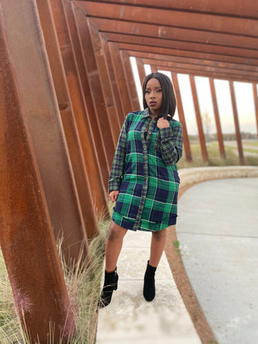 Remember Me Plaid Print Shirt Dress