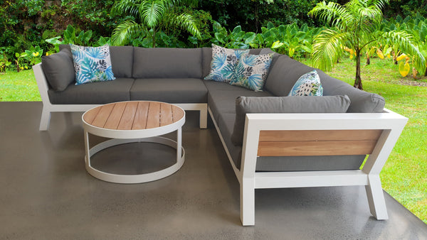 The framing used on our outdoor lounges are primarily made from either timber like teak and  kwila (which will not rot) or aluminium (which doesn't rust). These materials have been specially selected due to their ability to withstand hours left outdoors in the elements. Indoor furniture on the other hand is generally made using cheaper materials which don't need to be weatherproof.