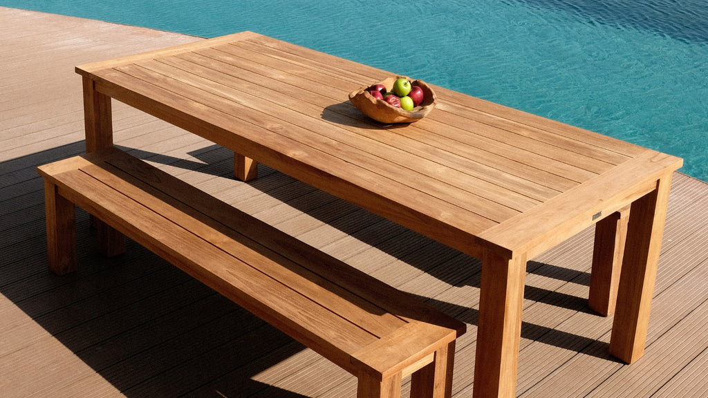 The supreme timber for outdoor use, teak will not rot or warp and is sustainable, made from reclaimed timber. Our collection of honey toned teak is refined and contemporary.