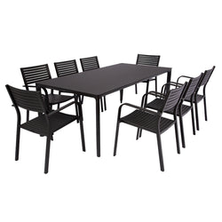 Milan & Vienna Slat Outdoor Dining - Charcoal