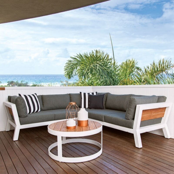 Backer Corner Aluminium and reclaimed Teak Outdoor Lounge from S2dio