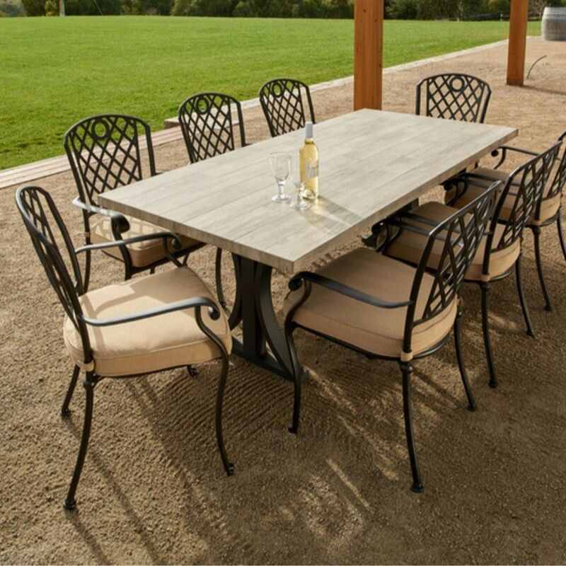 Travertine stone & Cast Aluminium Outdoor Dining Setting