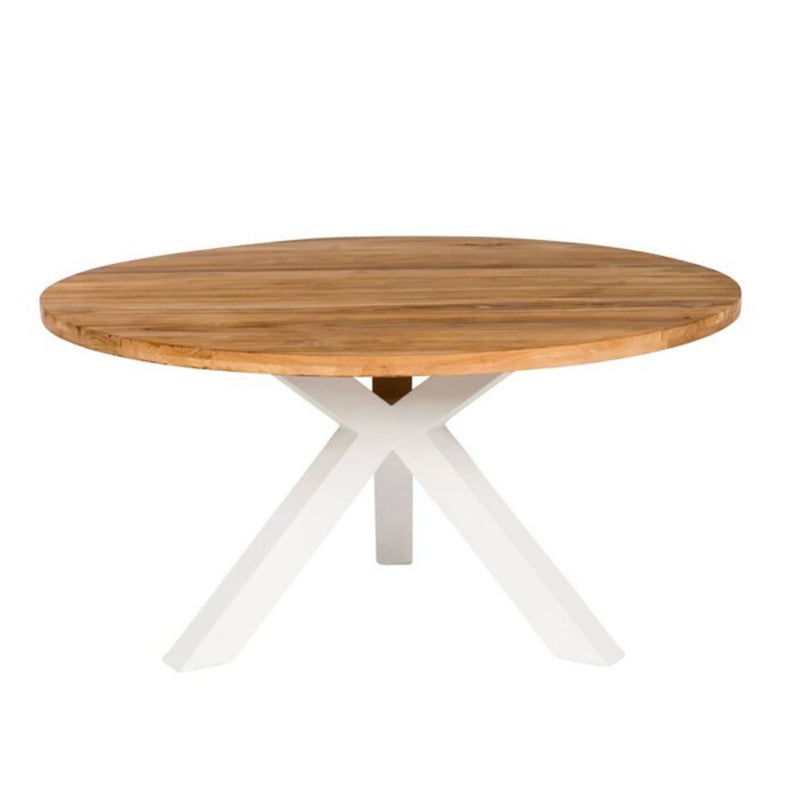 Beauville teak outdoor table. Modern cross leg design.