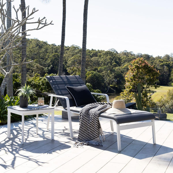 Cassis Outdoor Sunlounge - Charcoal & White