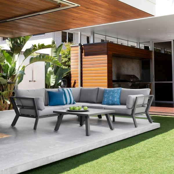Peru Corner Outdoor Lounge Setting (Gunmetal)