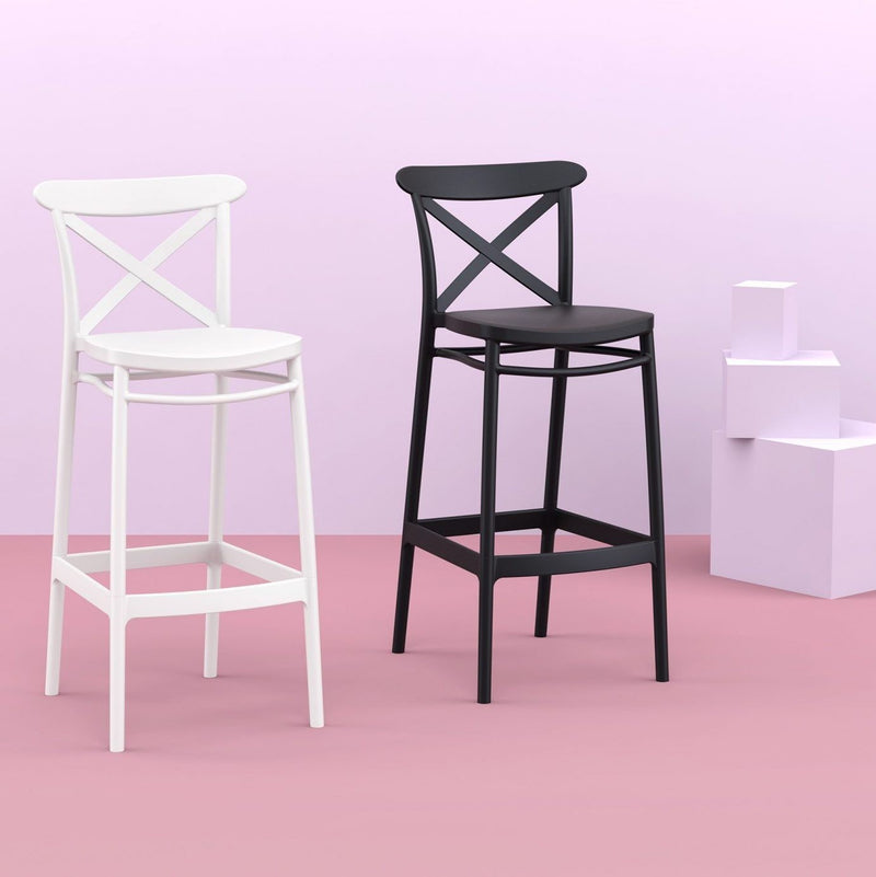 Cross Outdoor Resin Bar Chair