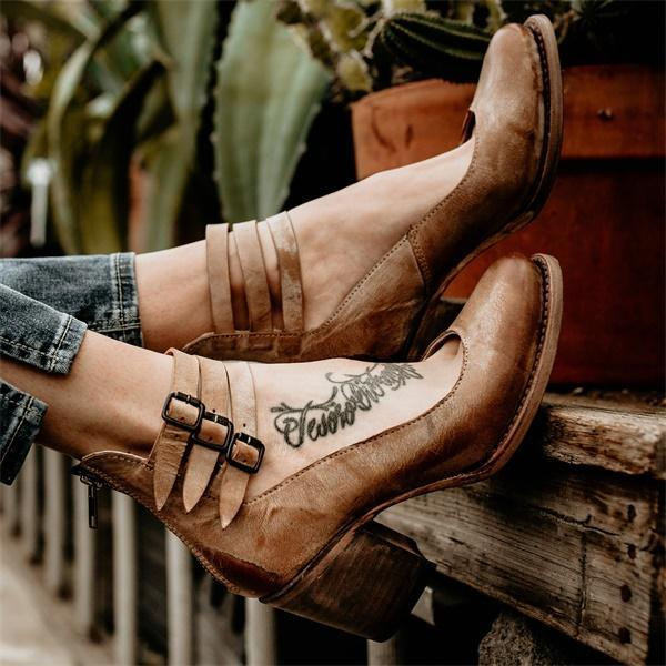 Vintage Strap Buckle Boots