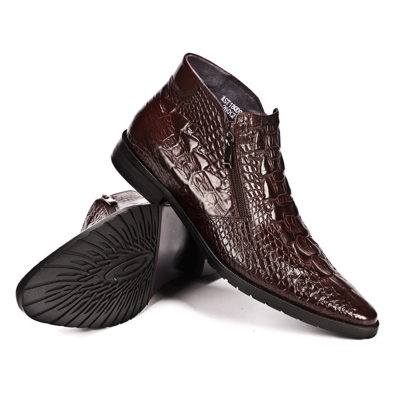 Crocodile Pattern Leather Boots