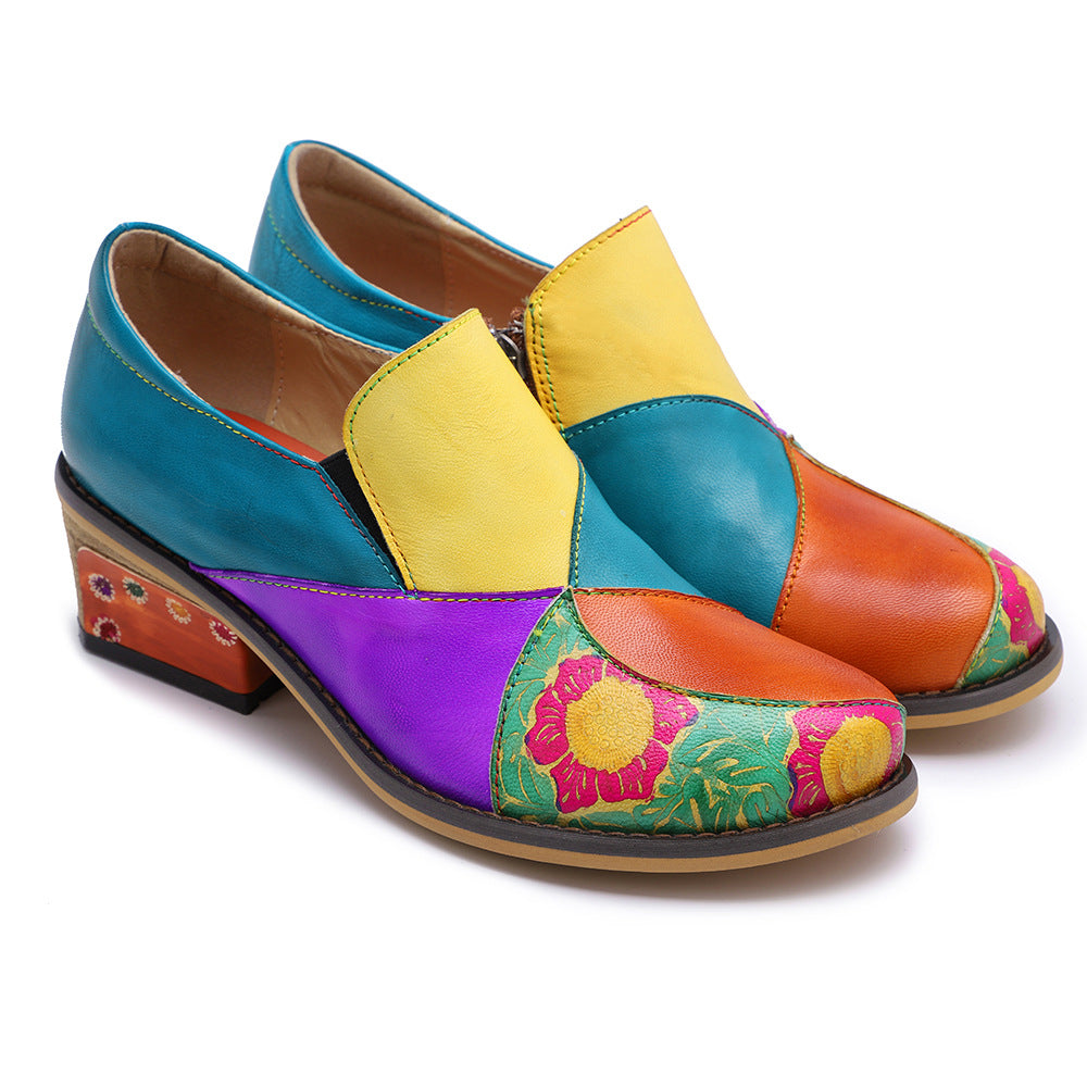 Boho Style Colorblock Loafers