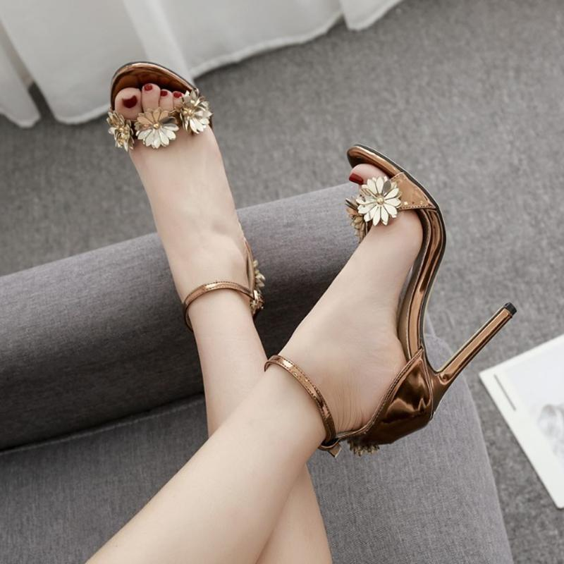 Metal Flower High Heels