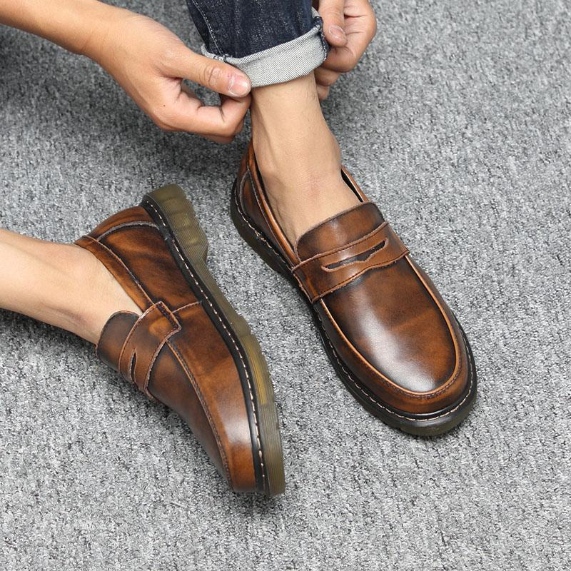 Round Toecap Loafers Unisex Shoes