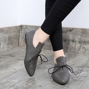 Leather Flats Anckle Boots
