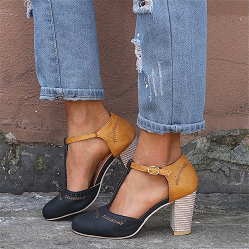 Colorblock Chunky Heel Sandals