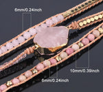 Natural Pink Quartz Stone & Leather Wrap Bracelet for Women