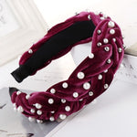 Pearl Velvet Braided Headband for Women