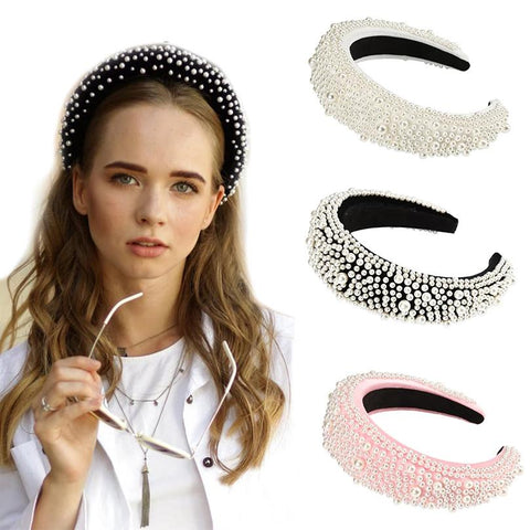 Stunning Luxury Velvet Full Pearl Headband for Women, Beautiful Color Variations