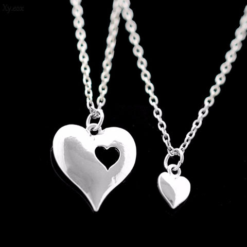 Mother and Daughter Silver Plated Two Hearts Necklaces Set