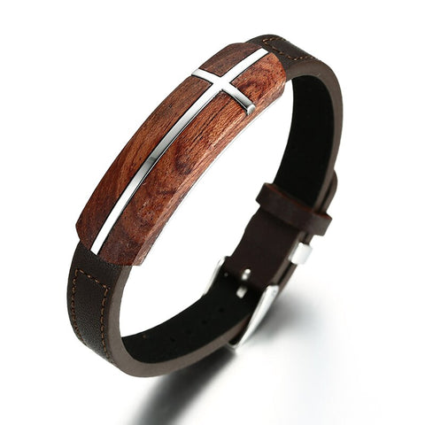 Stunning Mens's Bracelet, Rosewood & Genuine Leather Bracelet with Adjustable Stainless Steel Belt Buckle