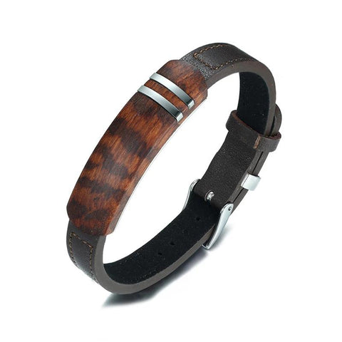 Brown Genuine Leather and Rosewood Cuff Bracelet Men.