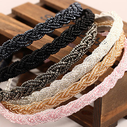 Beaded Twist Headband with Fine Pearls, many colors