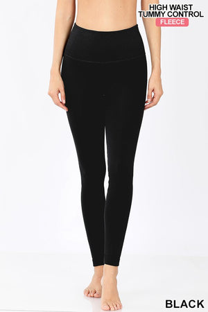 Fleece Lined Tummy Control Leggings - Jane & Kate