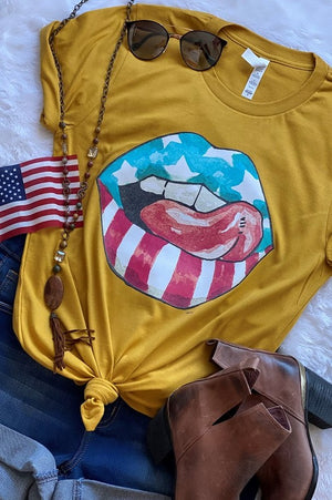Rocker USA Graphic Tee - MUSTARD - Jane & Kate