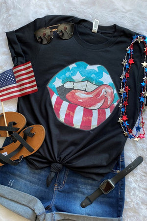Rocker USA Graphic Tee - BLACK - Jane & Kate
