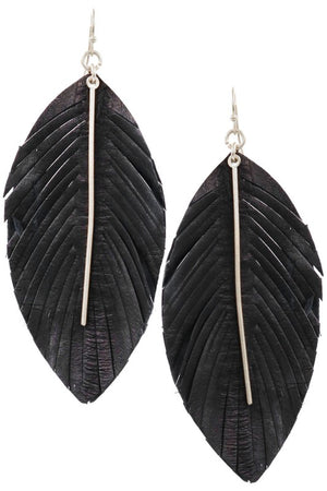 The Leather Feather Earrings - Jane & Kate
