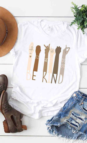 """Be Kind"" ASL Graphic Tee  - WHITE - Jane & Kate"