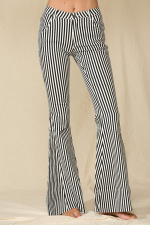 Striped Bell Bottom Jeans - BLACK/WHITE - Jane & Kate