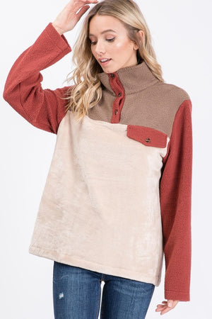 *FINAL SALE* Patagonia Inspired Pullover - RUST - Jane & Kate
