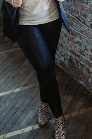 Black Faux Leather Snakeskin Leggings - Jane & Kate